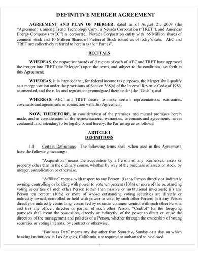 sample definitive merger agreement