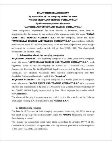 sample draft merger agreement