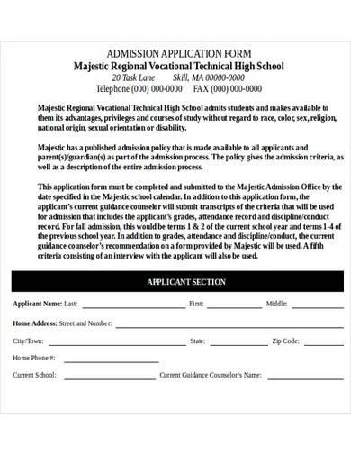 sample education admission application