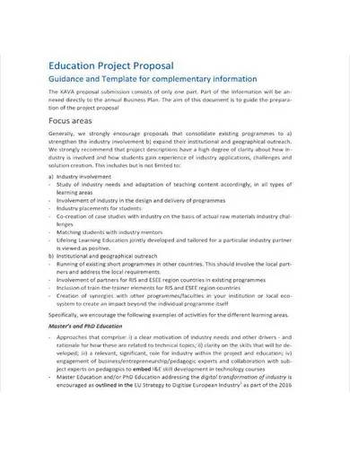 sample education project proposal template