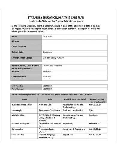 sample educational health care plan