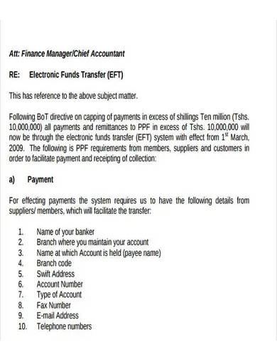 sample electronic fund transfer letter