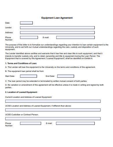 sample equipment loan agreement