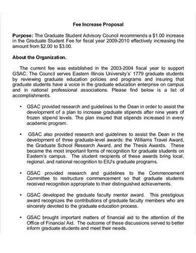 sample fee increase proposal