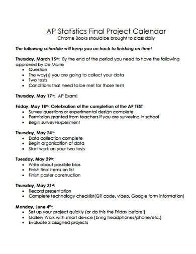 sample final project calendar