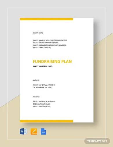 sample fundraising plan template