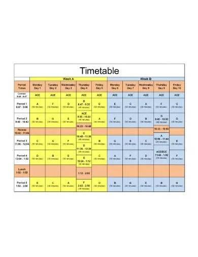 sample high school timetable