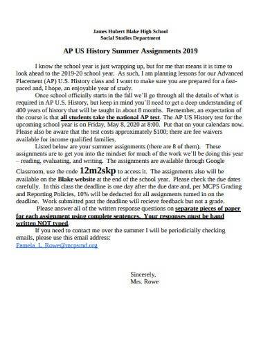 sample history summer assignments