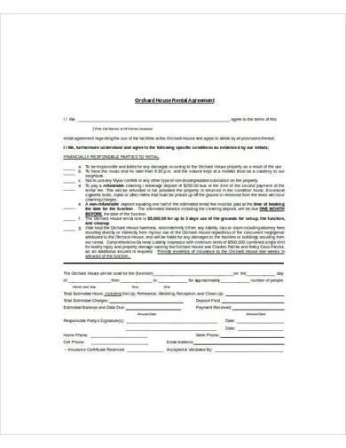 sample house rental agreement