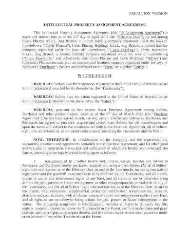sample intellectual property assignment agreement
