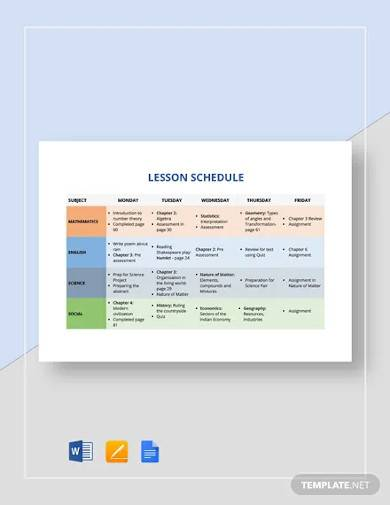 sample lesson schedule template