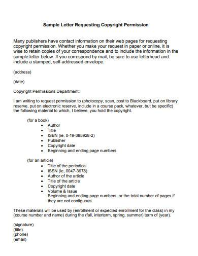 sample letter requesting copyright permission