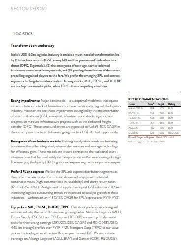 sample logistics sector report