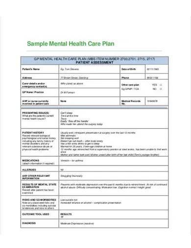 sample mental health care plan