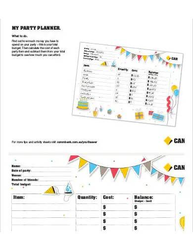 sample party planner budget