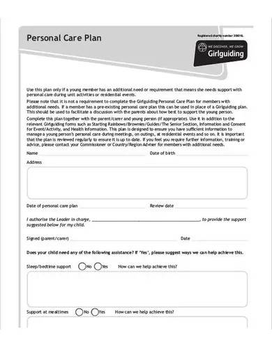 sample personal care plan template