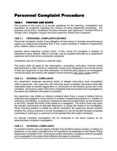 sample personal complaint procedure