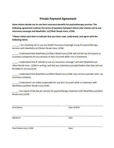 sample private payment agreement