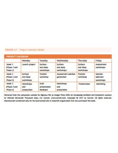 sample project calendar model