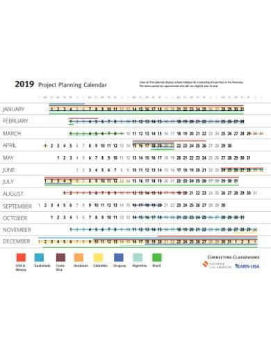 sample project planning calendar