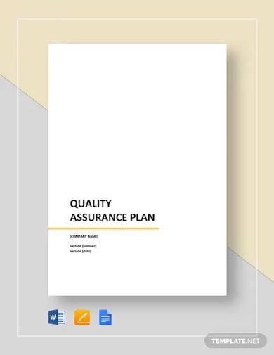sample quality assurance plan template