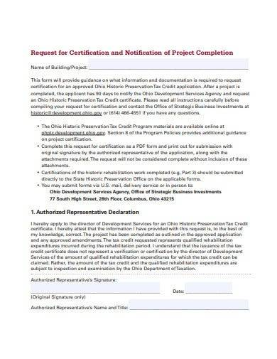 sample request for project completion certificate
