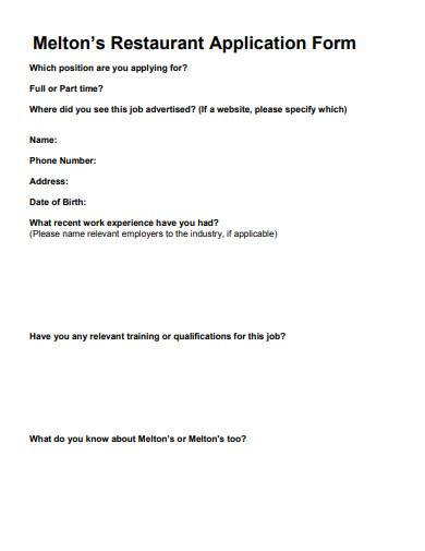 sample restaurant application