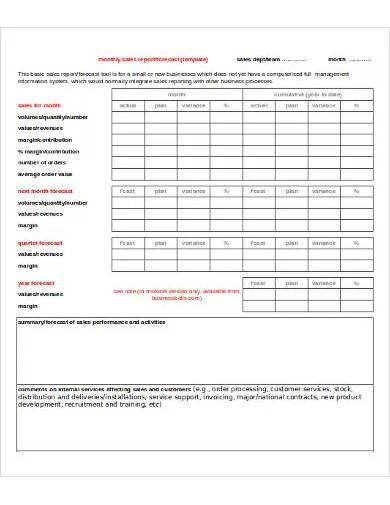 sample sales report template