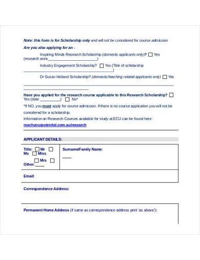 sample school application form template