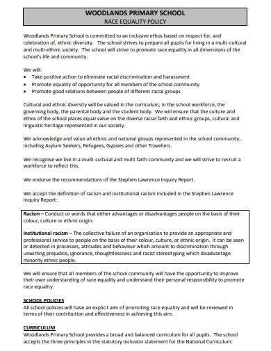 sample school race equality policy