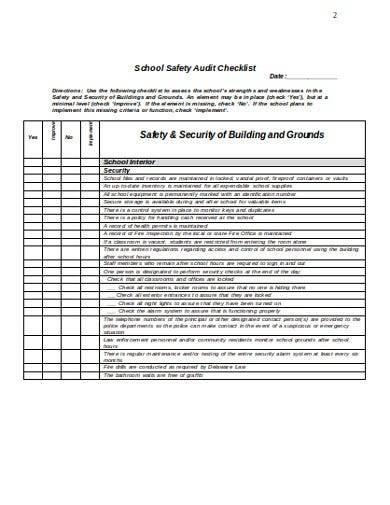 sample school safety audit checklist