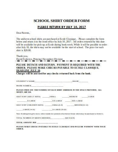 sample school shirt order form