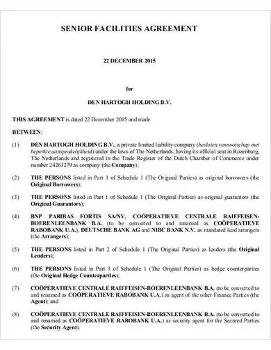 sample senior facilities agreement