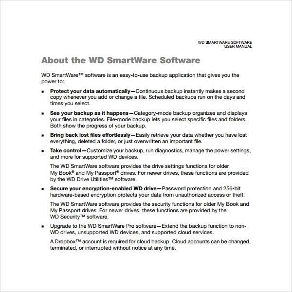 sample software manual template