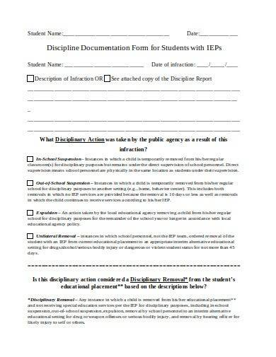 sample special education discipline form