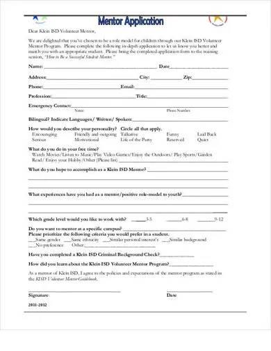 sample student mentor application