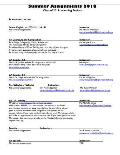 sample summer assignments