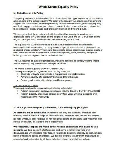 sample whole school equality policy