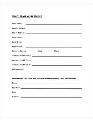 sample wholesale agreement