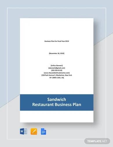 sandwich restaurant business plan template