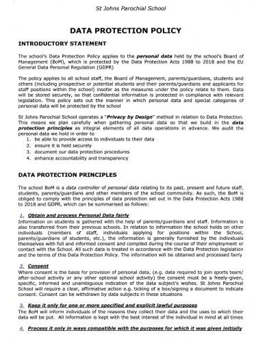 school data protection policy format