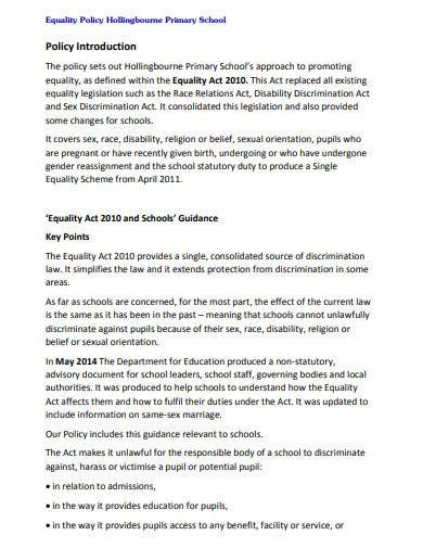 school equality policy template