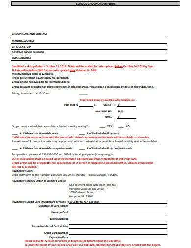 school group order form template