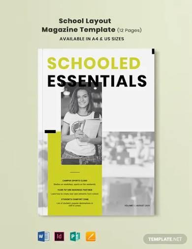 school layout magazine template