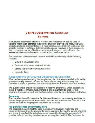 school observation checklist template