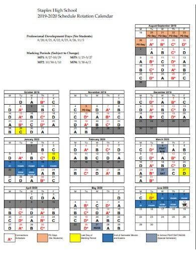 school schedule rotation calendar