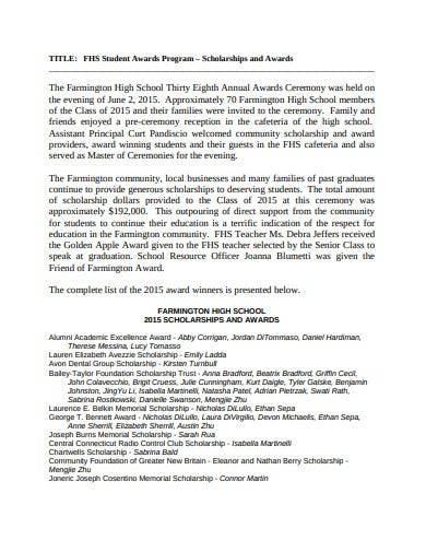 school scholarship and award ceremony