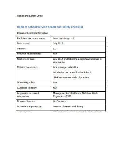 school service control checklist