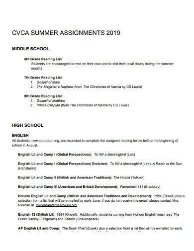school summer assignment template