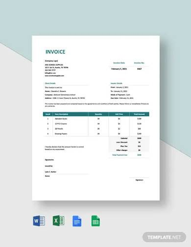 school supply order invoice template